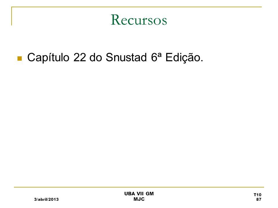 Recursos Capítulo 22 do Snustad 6ª Edição. 3/abril/2013 UBA VII GM MJC T10 87
