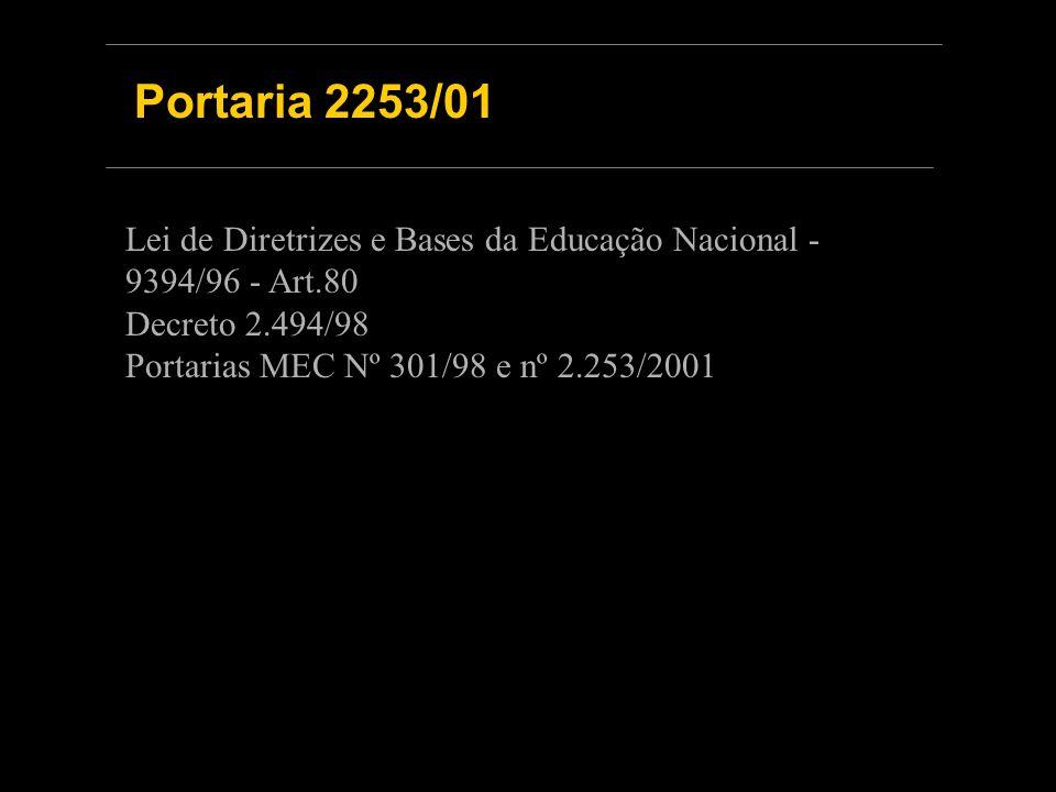 Portaria 2253/01 Lei de Diretrizes e Bases da Educação Nacional - 9394/96 - Art.80 Decreto 2.494/98 Portarias MEC Nº 301/98 e nº 2.253/2001