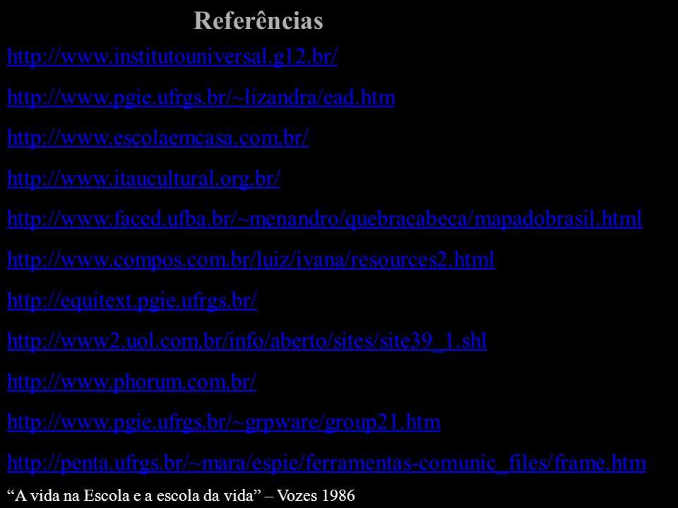 Referências http://www.institutouniversal.g12.br/ http://www.pgie.ufrgs.br/~lizandra/ead.htm http://www.escolaemcasa.com.br/ http://www.itaucultural.org.br/ http://www.faced.ufba.br/~menandro/quebracabeca/mapadobrasil.html http://www.compos.com.br/luiz/ivana/resources2.html http://equitext.pgie.ufrgs.br/ http://www2.uol.com.br/info/aberto/sites/site39_1.shl http://www.phorum.com.br/ http://www.pgie.ufrgs.br/~grpware/group21.htm http://penta.ufrgs.br/~mara/espie/ferramentas-comunic_files/frame.htm A vida na Escola e a escola da vida – Vozes 1986
