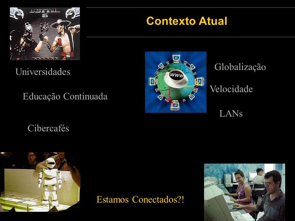 Globalização Velocidade LANs Cibercafés Universidades Educação Continuada Contexto Atual Estamos Conectados?!