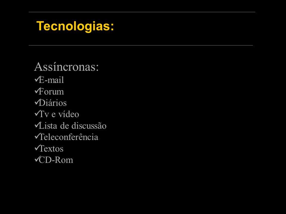 Tecnologias: Assíncronas: E-mail Forum Diários Tv e vídeo Lista de discussão Teleconferência Textos CD-Rom