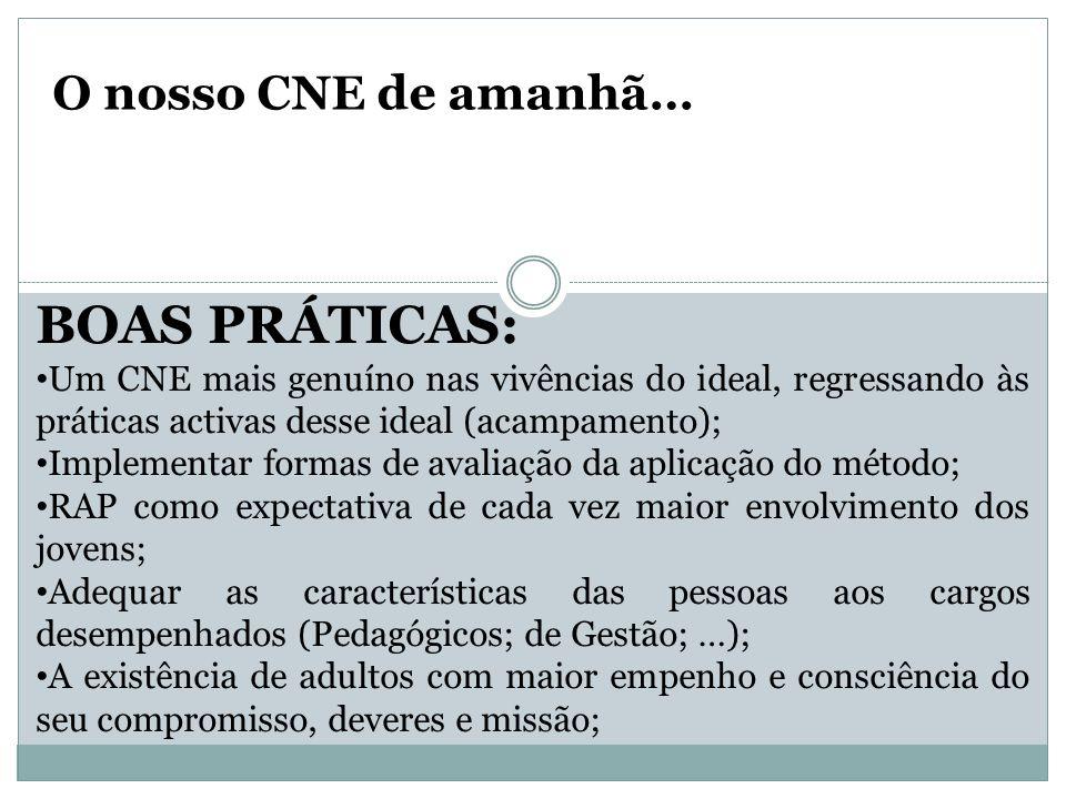 O nosso CNE de amanhã… BOAS PRÁTICAS: Um CNE mais genuíno nas vivências do ideal, regressando às práticas activas desse ideal (acampamento); Implement
