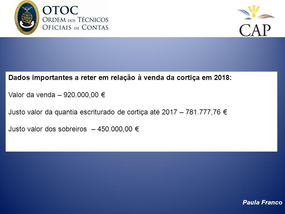 Paula Franco Dados importantes a reter em relação à venda da cortiça em 2018: Valor da venda – 920.000,00 Justo valor da quantia escriturado de cortiç