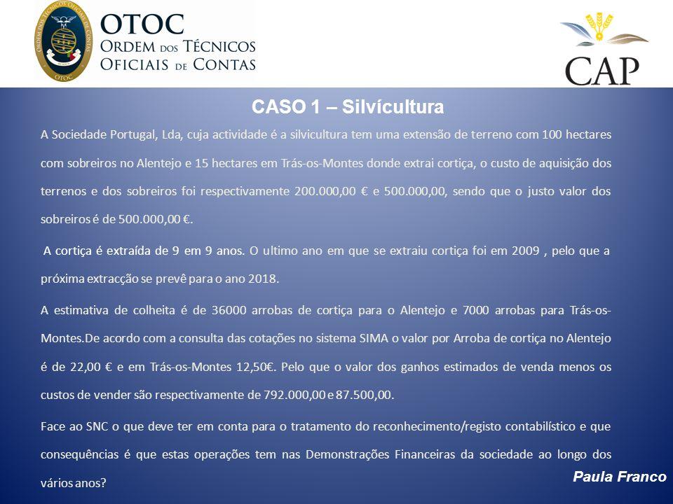 Paula Franco CASO 1 – Silvícultura A Sociedade Portugal, Lda, cuja actividade é a silvicultura tem uma extensão de terreno com 100 hectares com sobrei