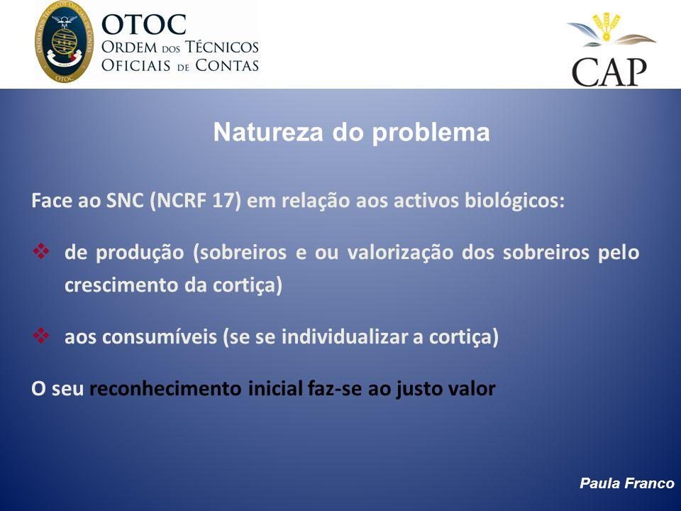 Paula Franco Natureza do problema Face ao SNC (NCRF 17) em relação aos activos biológicos: de produção (sobreiros e ou valorização dos sobreiros pelo