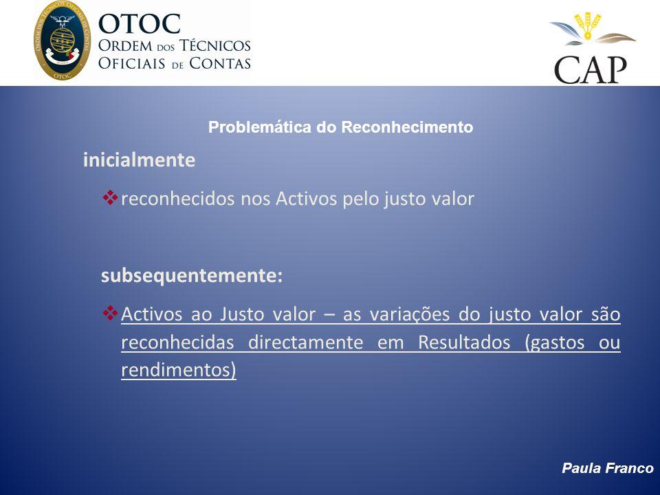 Paula Franco Problemática do Reconhecimento inicialmente reconhecidos nos Activos pelo justo valor subsequentemente: Activos ao Justo valor – as varia