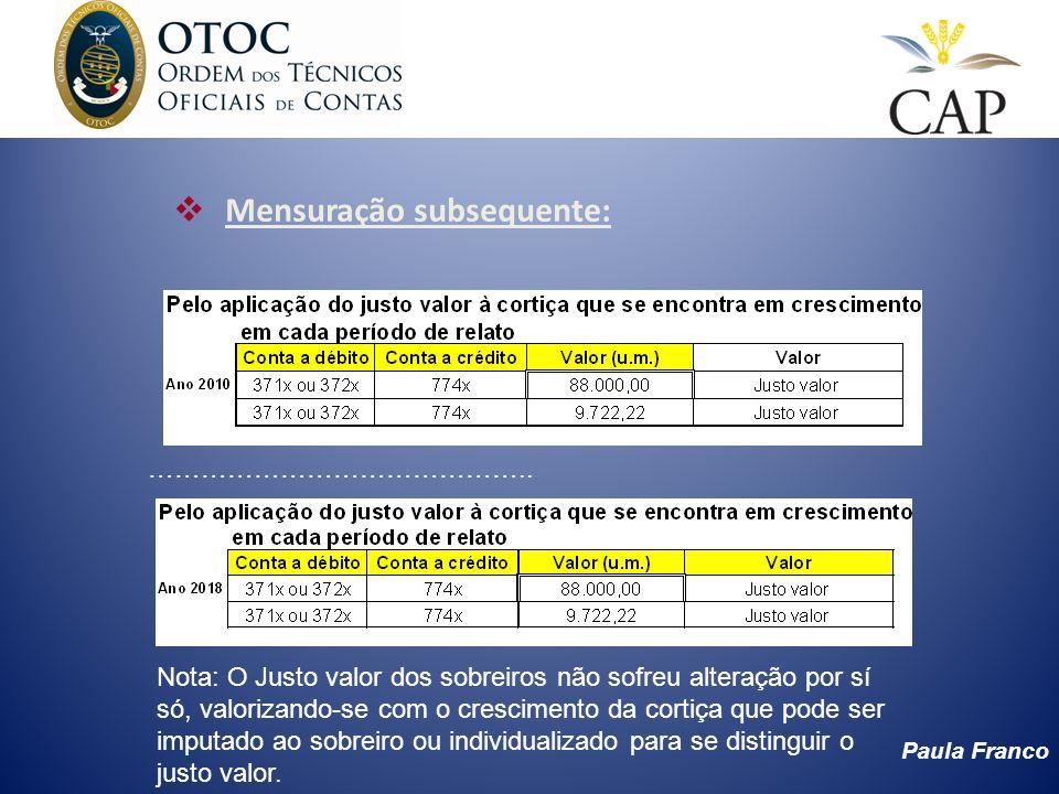 Paula Franco Comparativo entre a aplicação do justo valor e a não aplicação nas DF em 2014