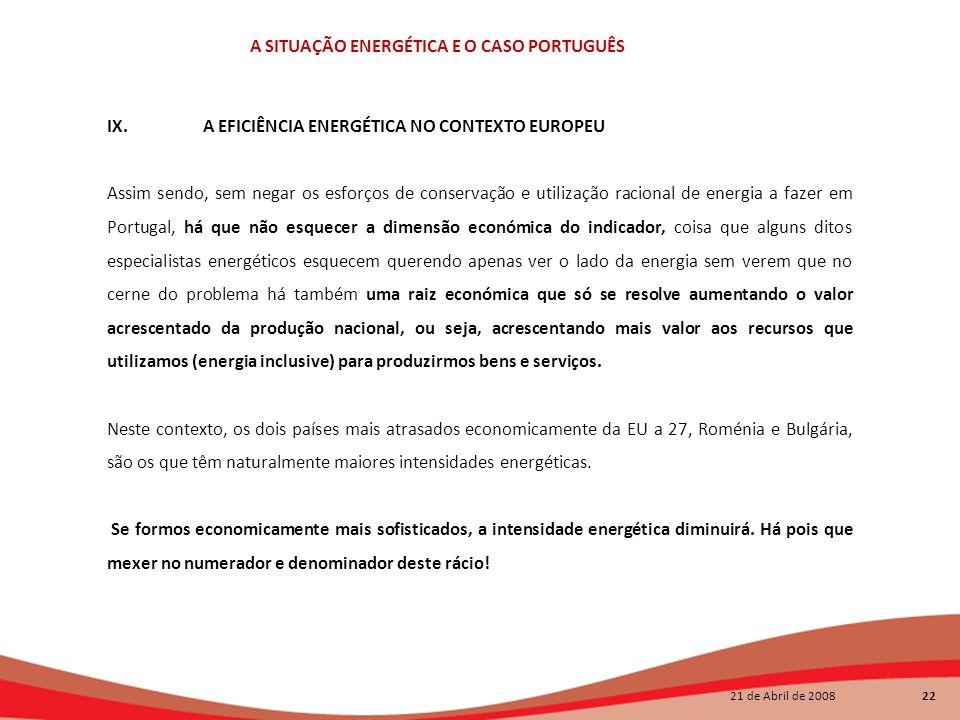 21 de Abril de 2008 22 A SITUAÇÃO ENERGÉTICA E O CASO PORTUGUÊS IX.A EFICIÊNCIA ENERGÉTICA NO CONTEXTO EUROPEU Assim sendo, sem negar os esforços de c