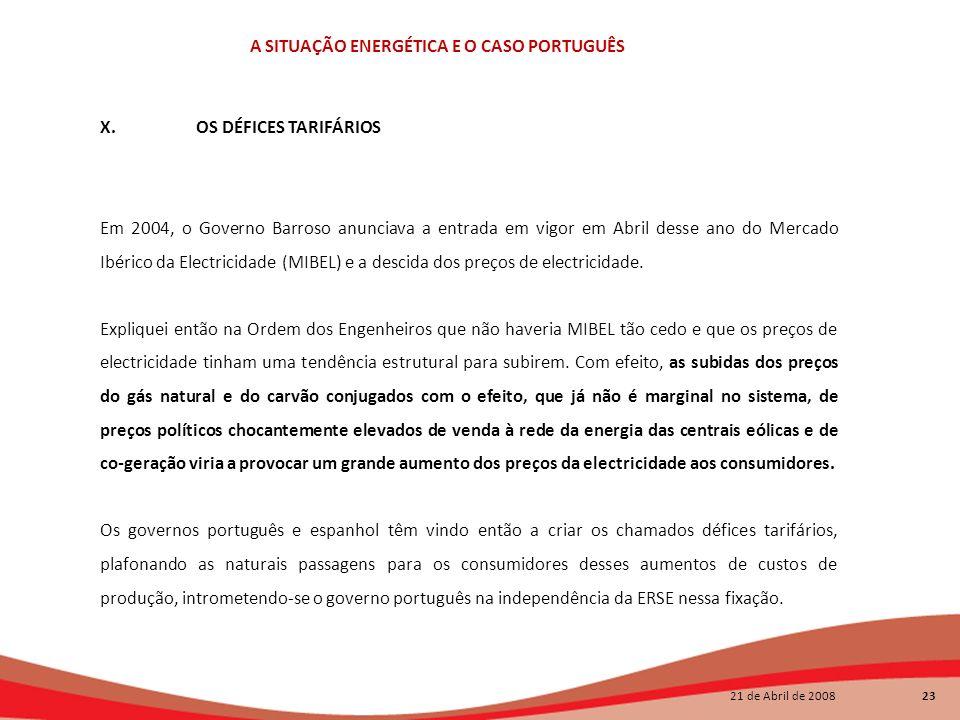 21 de Abril de 2008 23 A SITUAÇÃO ENERGÉTICA E O CASO PORTUGUÊS X.OS DÉFICES TARIFÁRIOS Em 2004, o Governo Barroso anunciava a entrada em vigor em Abr