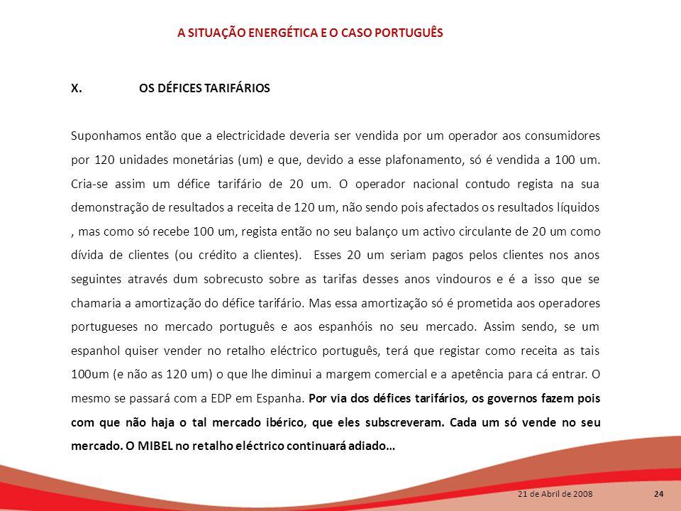 21 de Abril de 2008 24 A SITUAÇÃO ENERGÉTICA E O CASO PORTUGUÊS X. OS DÉFICES TARIFÁRIOS Suponhamos então que a electricidade deveria ser vendida por