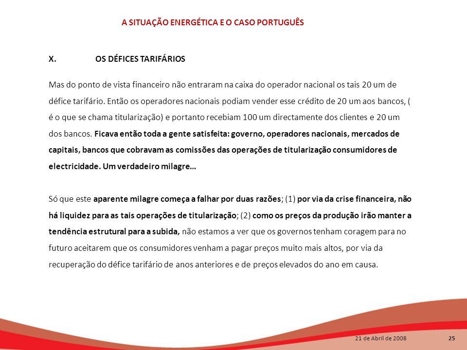 21 de Abril de 2008 25 A SITUAÇÃO ENERGÉTICA E O CASO PORTUGUÊS X.OS DÉFICES TARIFÁRIOS Mas do ponto de vista financeiro não entraram na caixa do oper
