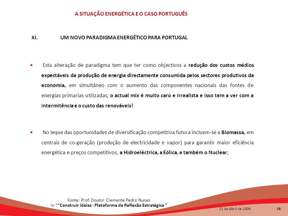 21 de Abril de 2008 28 A SITUAÇÃO ENERGÉTICA E O CASO PORTUGUÊS Esta alteração de paradigma tem que ter como objectivos a redução dos custos médios ex