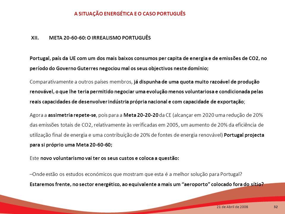 21 de Abril de 2008 32 A SITUAÇÃO ENERGÉTICA E O CASO PORTUGUÊS Portugal, país da UE com um dos mais baixos consumos per capita de energia e de emissõ