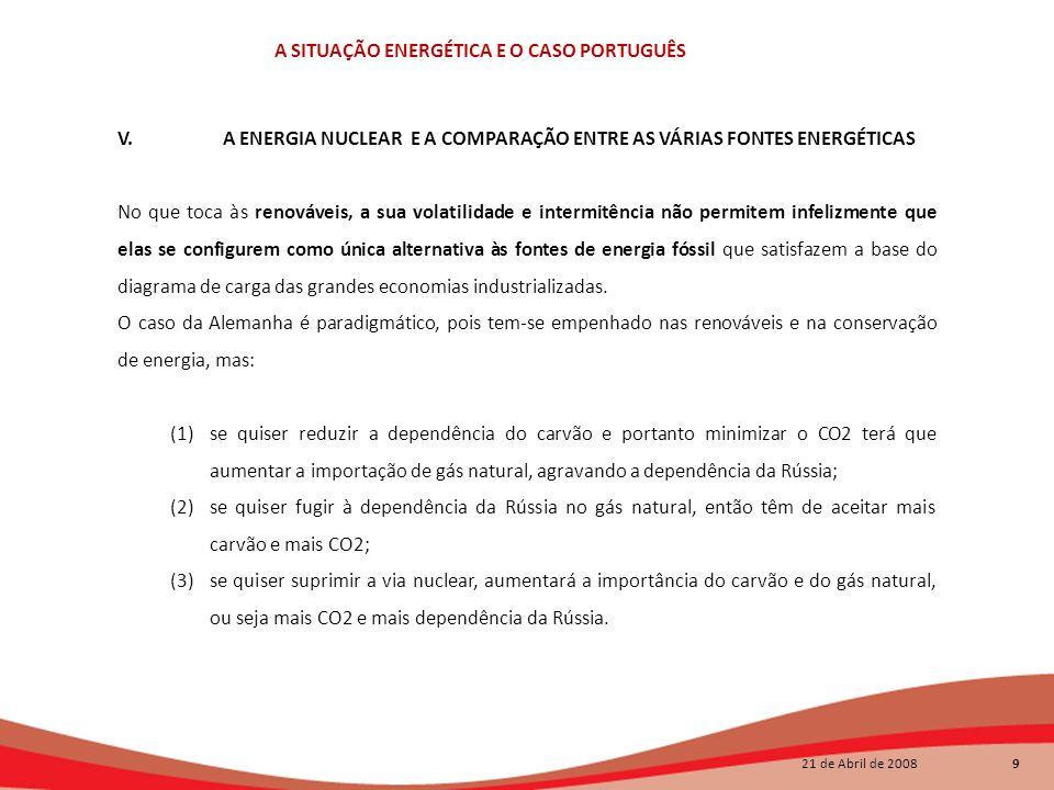 21 de Abril de 2008 9 A SITUAÇÃO ENERGÉTICA E O CASO PORTUGUÊS V.A ENERGIA NUCLEAR E A COMPARAÇÃO ENTRE AS VÁRIAS FONTES ENERGÉTICAS No que toca às re