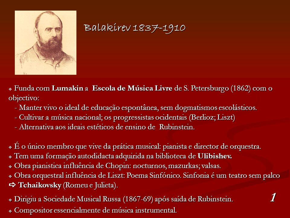 Balakirev 1837-1910 Funda com Lumakin a Escola de Música Livre de S. Petersburgo (1862) com o objectivo: - Manter vivo o ideal de educação espontânea,