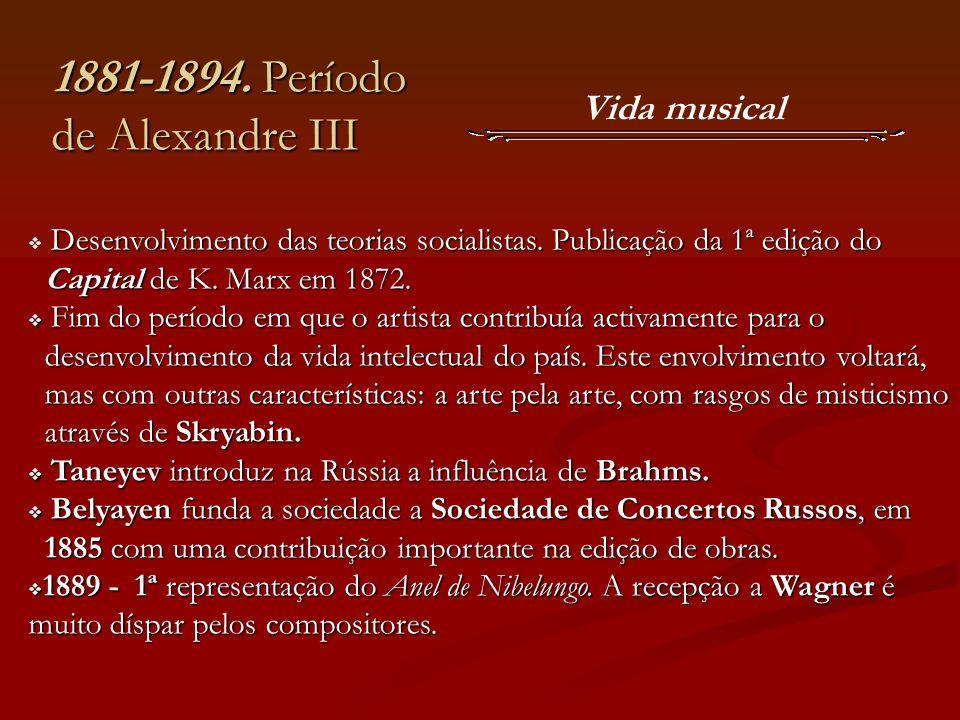 Vida musical 1881-1894. Período de Alexandre III Desenvolvimento das teorias socialistas. Publicação da 1ª edição do Capital de K. Marx em 1872. Capit