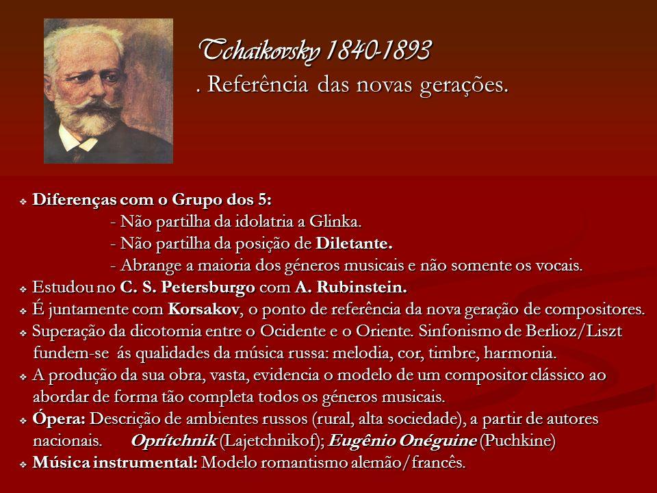 Tchaikovsky 1840-1893. Referência das novas gerações. Diferenças com o Grupo dos 5: - Não partilha da idolatria a Glinka. - Não partilha da idolatria