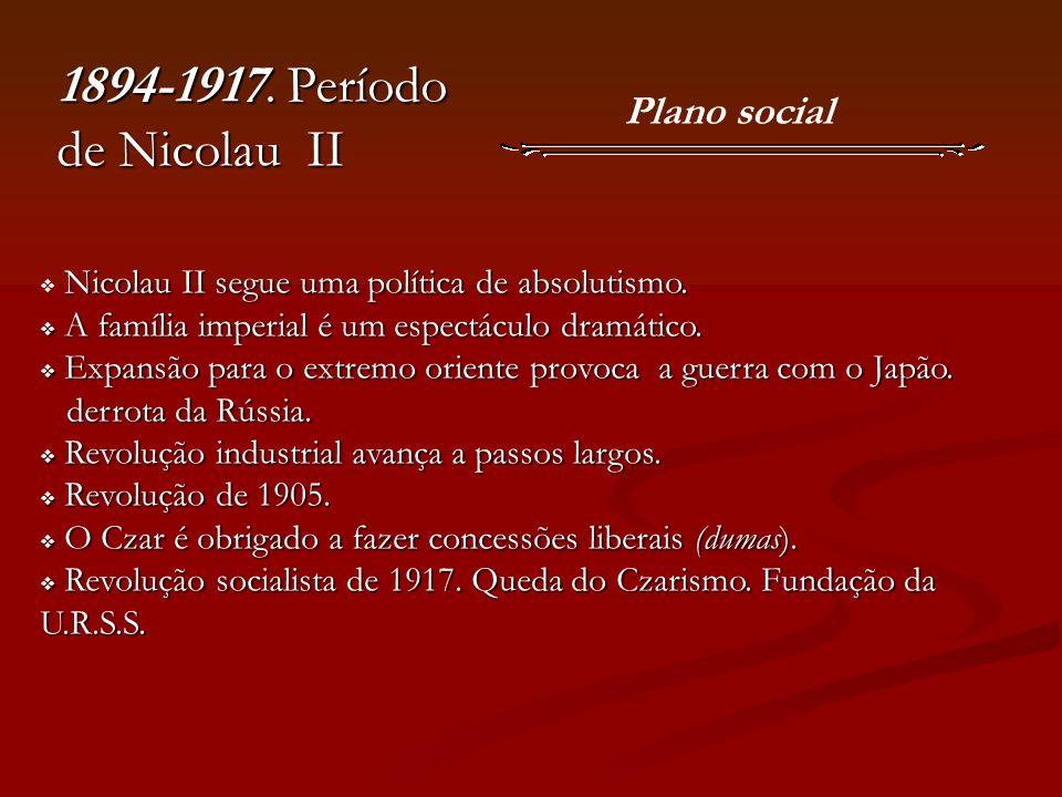 1894-1917. Período de Nicolau II Plano social Nicolau II segue uma política de absolutismo. A família imperial é um espectáculo dramático. A família i