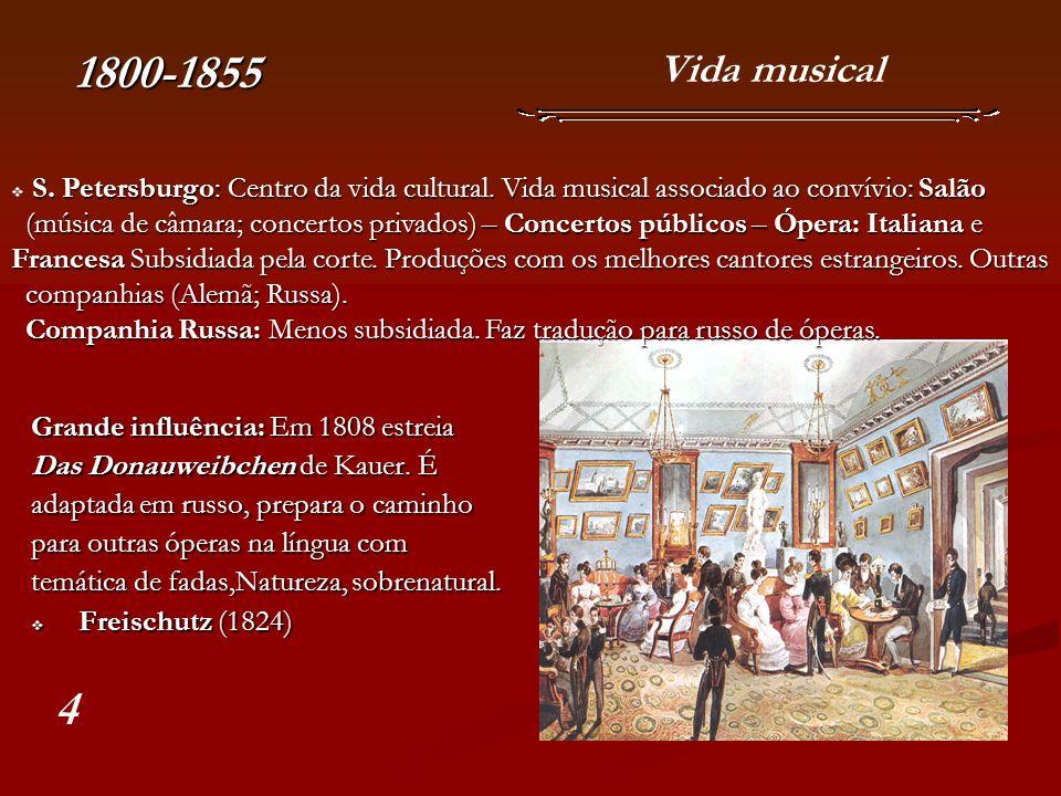 O início da Escola Russa Glinka 1804-1857 A Companhia Russa possui uma prática de criação de óperas utilizando melodias populares por vezes com temática russa.