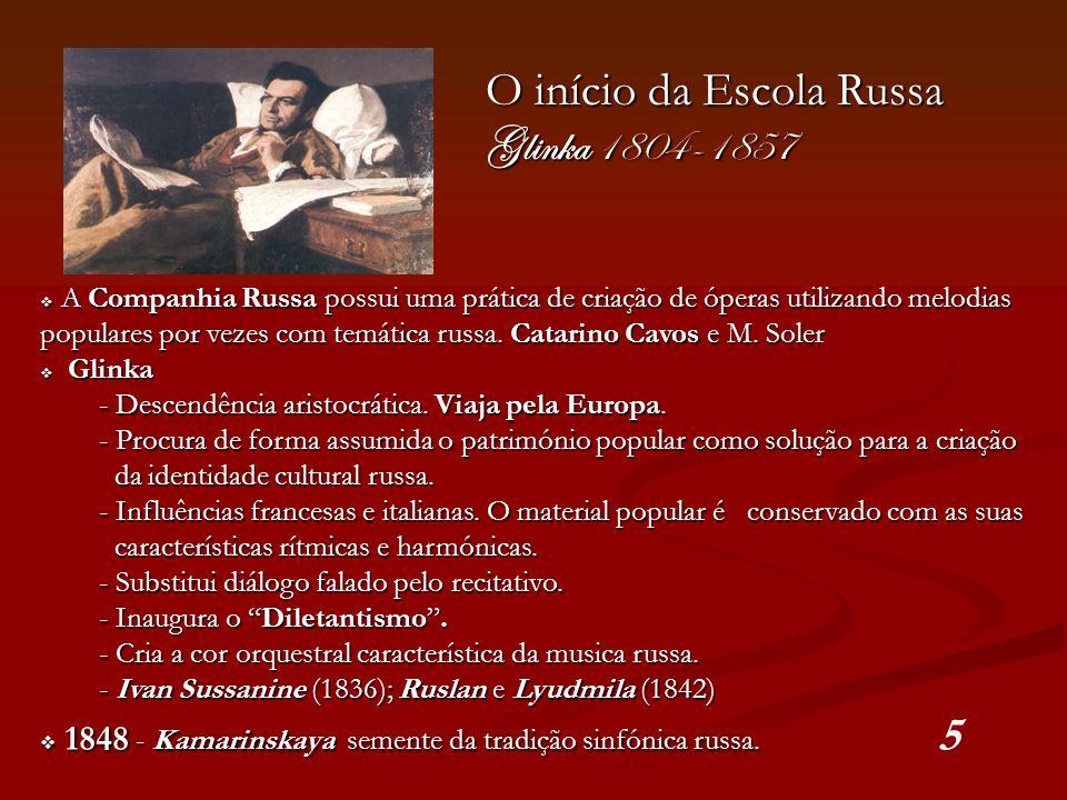 O início da Escola Russa Glinka 1804-1857 A Companhia Russa possui uma prática de criação de óperas utilizando melodias populares por vezes com temáti
