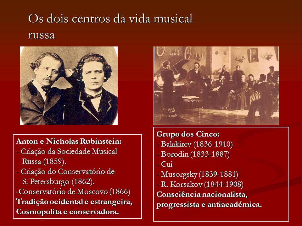 Os dois centros da vida musical russa Anton e Nicholas Rubinstein: - Criação da Sociedade Musical Russa (1859). Russa (1859). - Criação do Conservatór