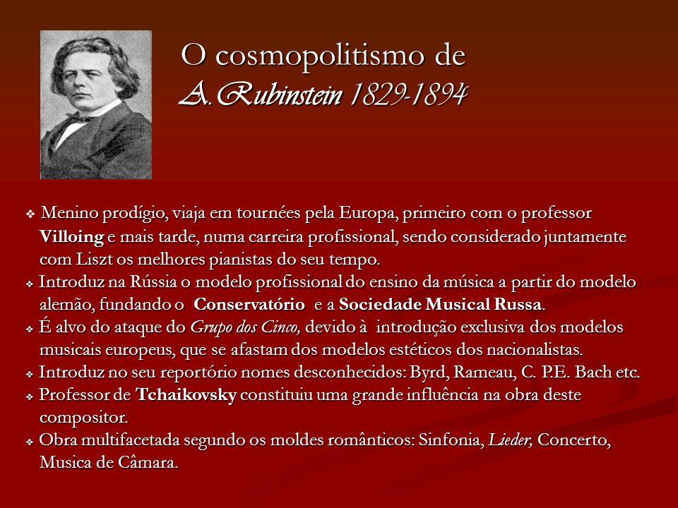 O cosmopolitismo de A.Rubinstein 1829-1894 Menino prodígio, viaja em tournées pela Europa, primeiro com o professor Villoing e mais tarde, numa carrei