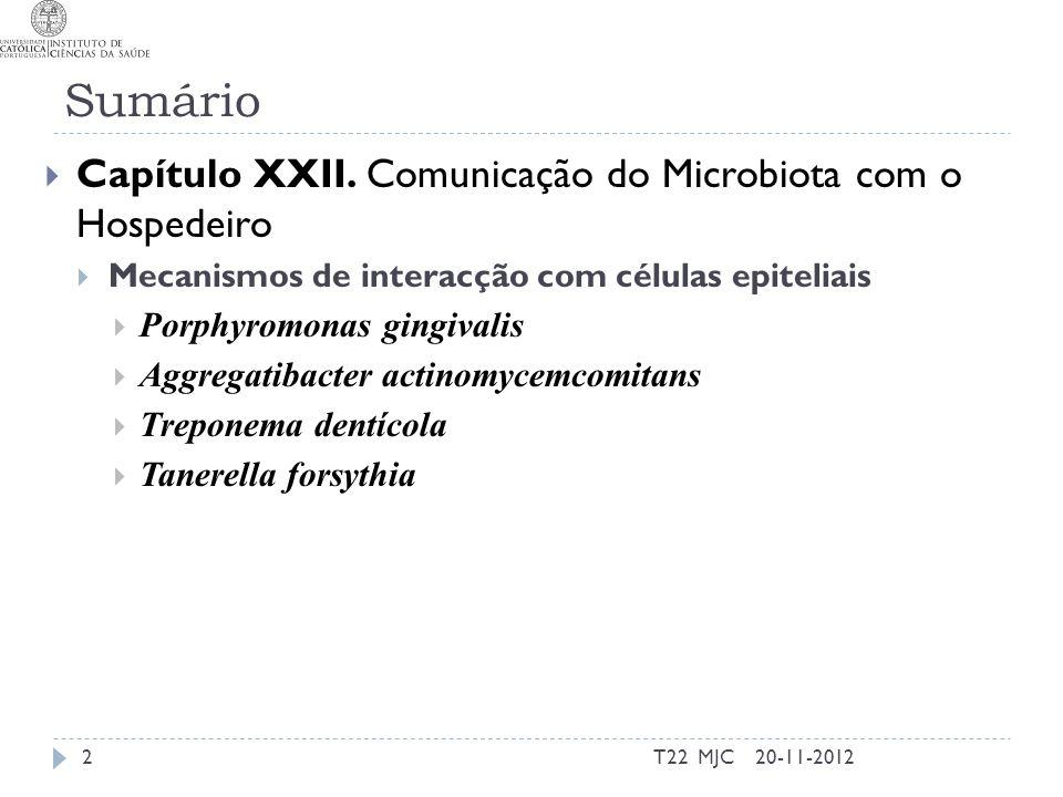 Sumário T22 MJC2 Capítulo XXII. Comunicação do Microbiota com o Hospedeiro Mecanismos de interacção com células epiteliais Porphyromonas gingivalis Ag