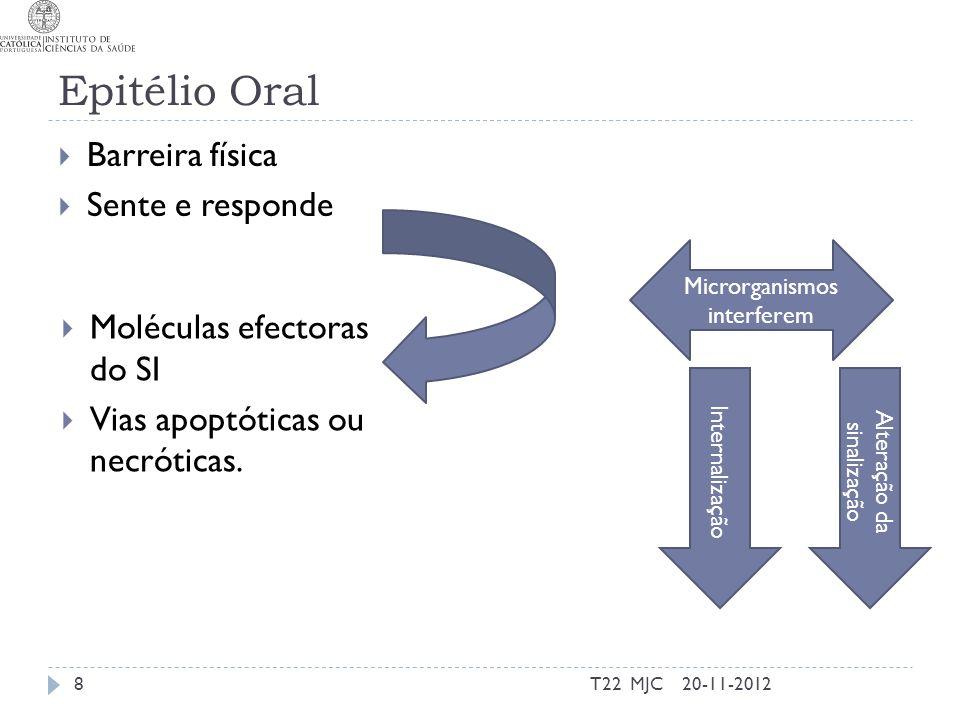 Epitélio Oral Barreira física Sente e responde 20-11-2012T22 MJC8 Moléculas efectoras do SI Vias apoptóticas ou necróticas. Microrganismos interferem