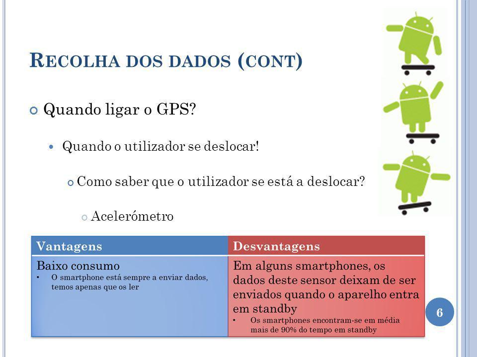 R ECOLHA DOS DADOS ( CONT ) Quando ligar o GPS? Quando o utilizador se deslocar! Como saber que o utilizador se está a deslocar? Acelerómetro 6
