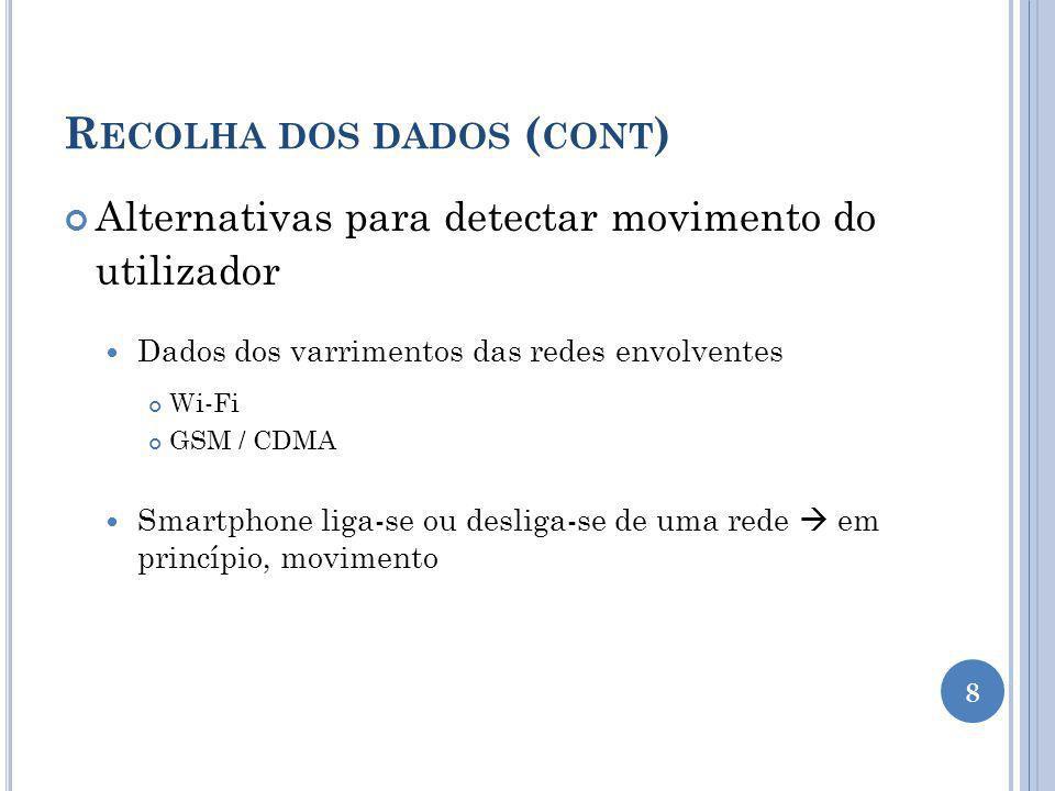 R ECOLHA DOS DADOS ( CONT ) Alternativas para detectar movimento do utilizador Dados dos varrimentos das redes envolventes Wi-Fi GSM / CDMA Smartphone liga-se ou desliga-se de uma rede em princípio, movimento 8