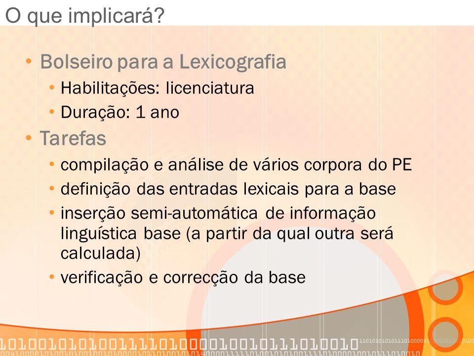 O que implicará? Bolseiro para a Lexicografia Habilitações: licenciatura Duração: 1 ano Tarefas compilação e análise de vários corpora do PE definição
