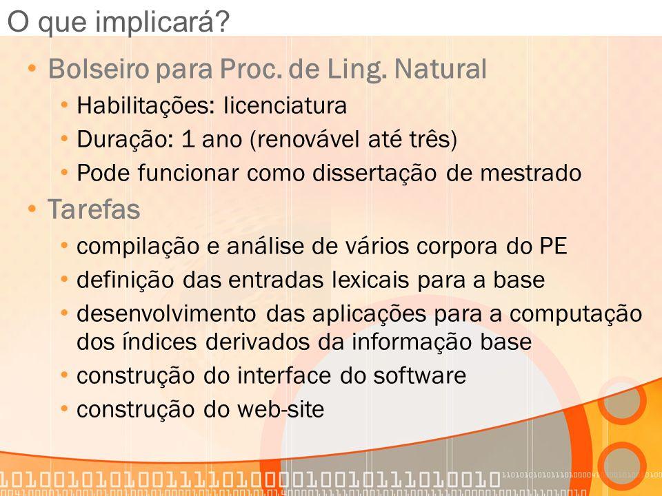 O que implicará? Bolseiro para Proc. de Ling. Natural Habilitações: licenciatura Duração: 1 ano (renovável até três) Pode funcionar como dissertação d