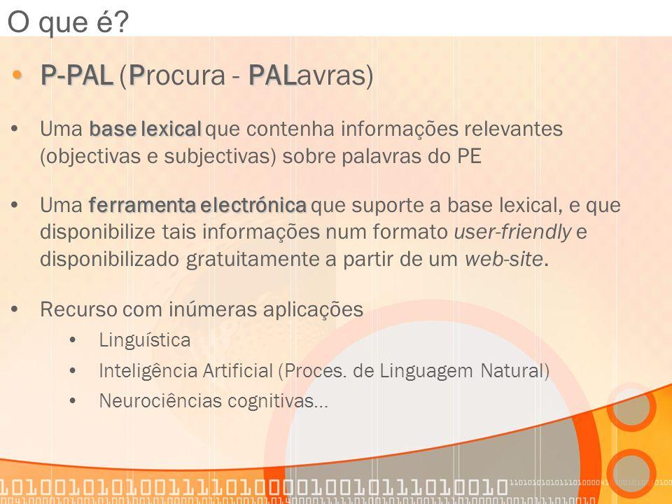 P-PALPPALP-PAL (Procura - PALavras) base lexicalUma base lexical que contenha informações relevantes (objectivas e subjectivas) sobre palavras do PE f