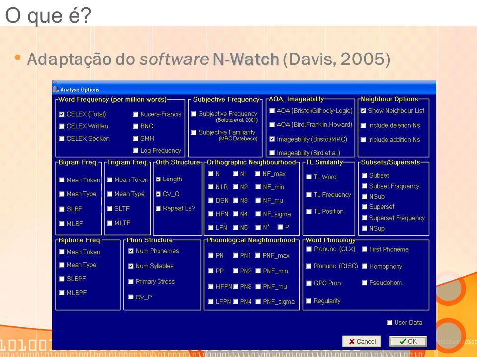 N-Watch Adaptação do software N-Watch (Davis, 2005) O que é?