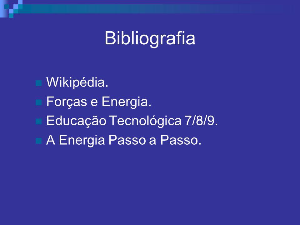 Bibliografia Wikipédia. Forças e Energia. Educação Tecnológica 7/8/9. A Energia Passo a Passo.