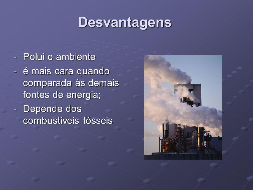 Desvantagens -Polui o ambiente -é mais cara quando comparada às demais fontes de energia; -Depende dos combustíveis fósseis