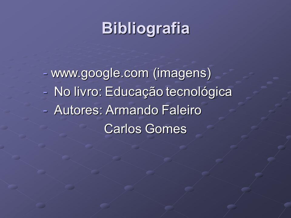 Bibliografia - www.google.com (imagens) -No livro: Educação tecnológica -Autores: Armando Faleiro Carlos Gomes Carlos Gomes