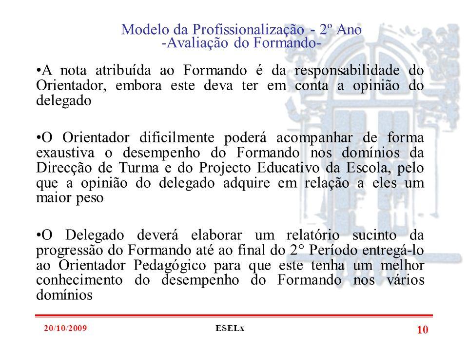 20/10/2009ESELx 9 Modelo da Profissionalização - 2º Ano -Avaliação do Formando- O Formando é objecto de avaliação nos seguintes domínios: *Pedagógico