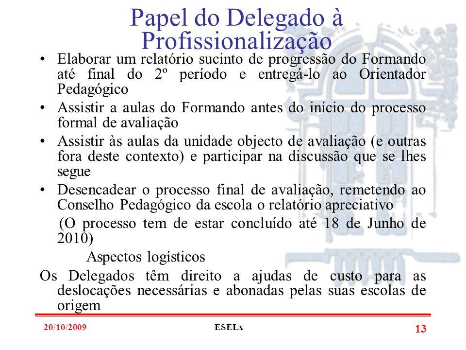 20/10/2009ESELx 12 Papel do Delegado à Profissionalização Acompanhar o Formando nos domínios: -Pedagógico-Didáctico -Direcção de Turma -Projecto Educa