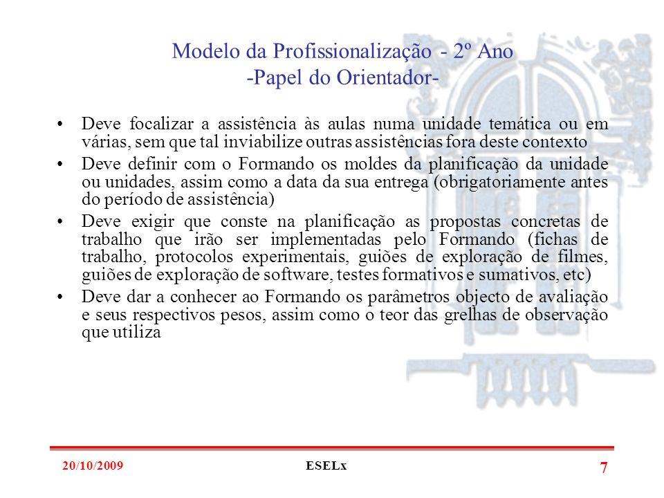 20/10/2009ESELx 6 Modelo da Profissionalização - 2º Ano O Formando tem de entregar um dossier final (4 de Junho de 2010) onde deve constar: -Versão fi