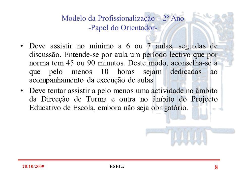 20/10/2009ESELx 7 Modelo da Profissionalização - 2º Ano -Papel do Orientador- Deve focalizar a assistência às aulas numa unidade temática ou em várias