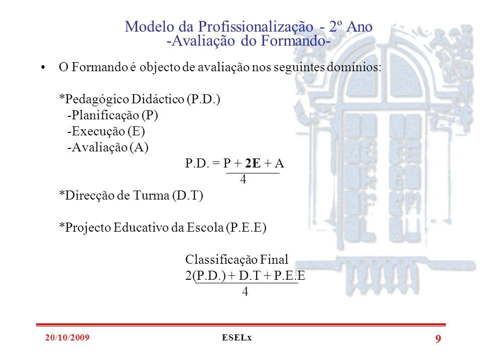 20/10/2009ESELx 8 Modelo da Profissionalização - 2º Ano -Papel do Orientador- Deve assistir no mínimo a 6 ou 7 aulas, seguidas de discussão. Entende-s