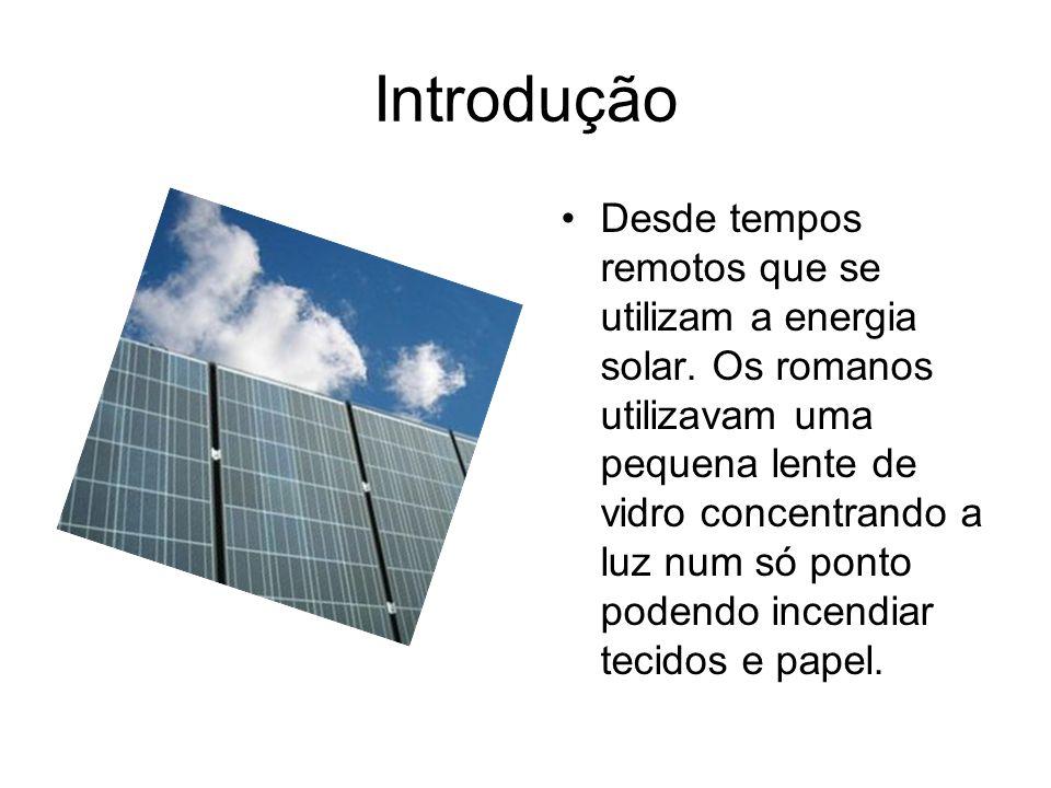 Introdução Desde tempos remotos que se utilizam a energia solar. Os romanos utilizavam uma pequena lente de vidro concentrando a luz num só ponto pode