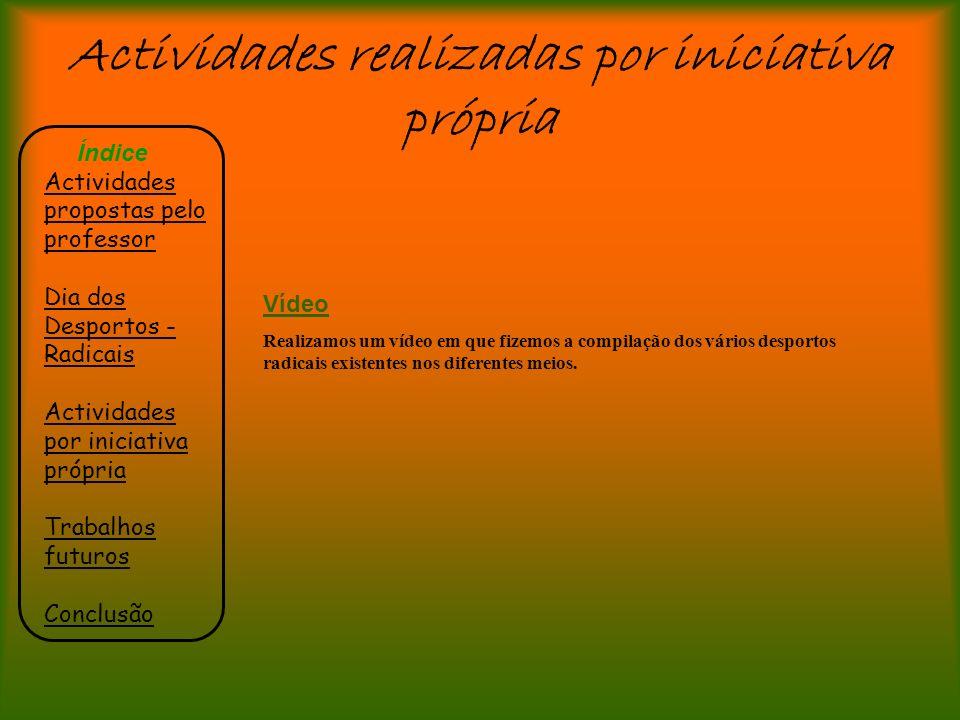 Actividades realizadas por iniciativa própria Índice Actividades propostas pelo professor Dia dos Desportos - Radicais Actividades por iniciativa próp