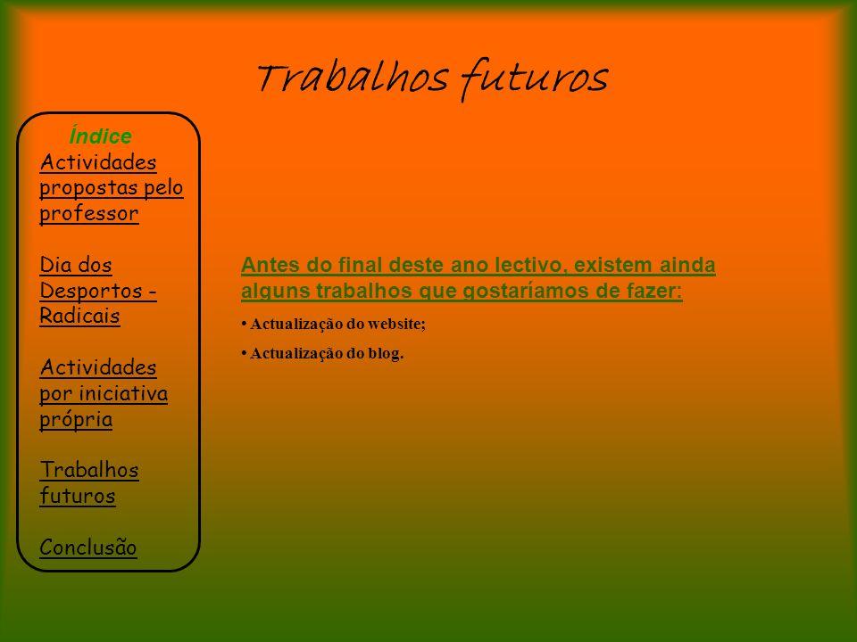 Trabalhos futuros Índice Actividades propostas pelo professor Dia dos Desportos - Radicais Actividades por iniciativa própria Trabalhos futuros Conclu