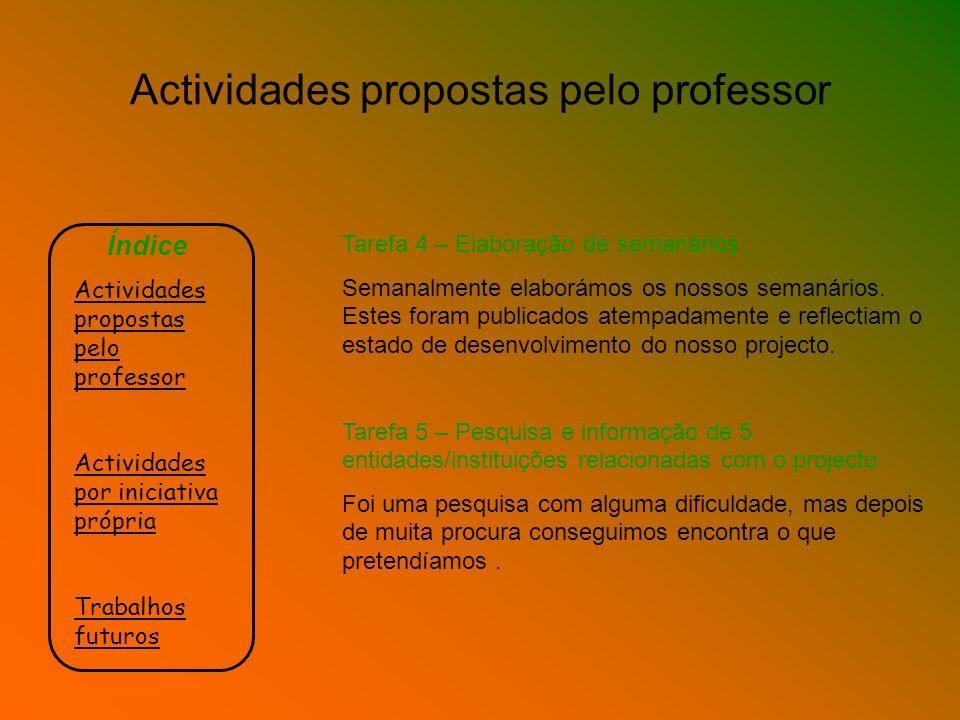 Índice Actividades propostas pelo professor Actividades por iniciativa própria Trabalhos futuros Tarefa 4 – Elaboração de semanários Semanalmente elab