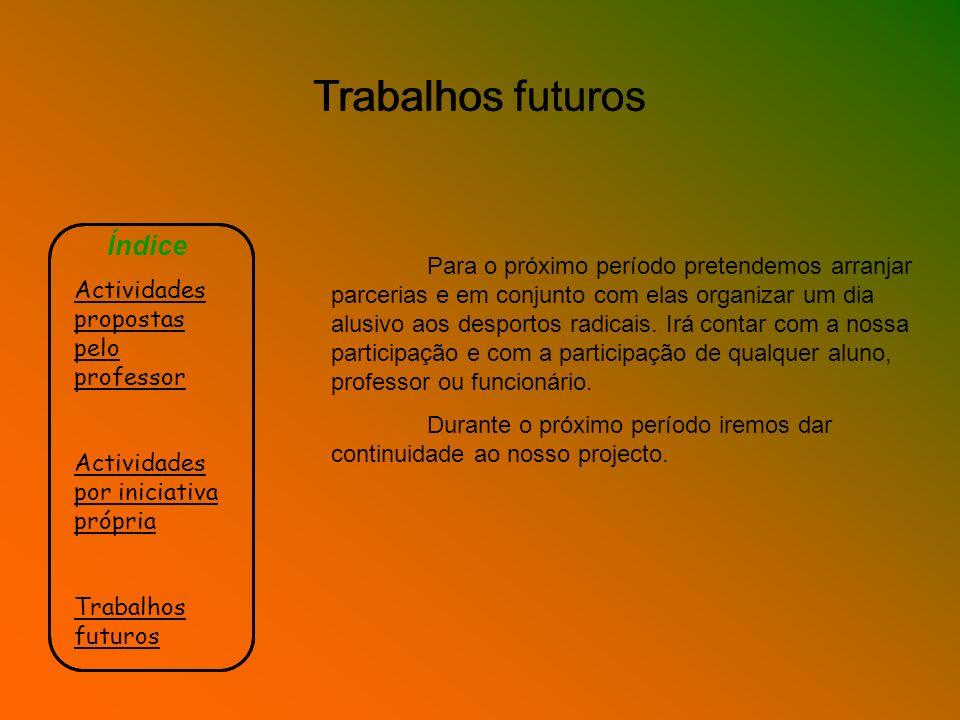 Trabalhos futuros Índice Actividades propostas pelo professor Actividades por iniciativa própria Trabalhos futuros Para o próximo período pretendemos