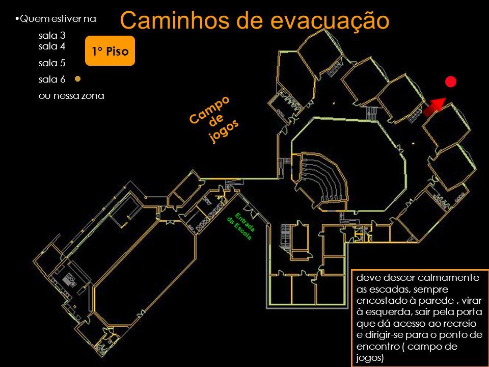 Quem estiver na sala 3 sala 4 sala 5 sala 6 ou nessa zona deve descer calmamente as escadas, sempre encostado à parede, virar à esquerda, sair pela po