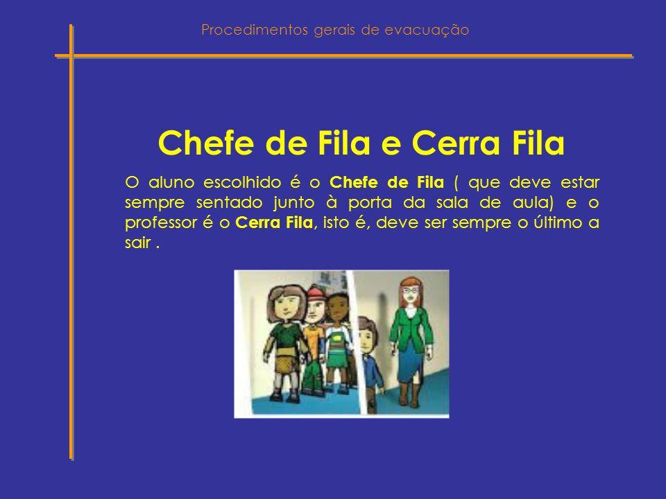 Chefe de Fila e Cerra Fila O aluno escolhido é o Chefe de Fila ( que deve estar sempre sentado junto à porta da sala de aula) e o professor é o Cerra