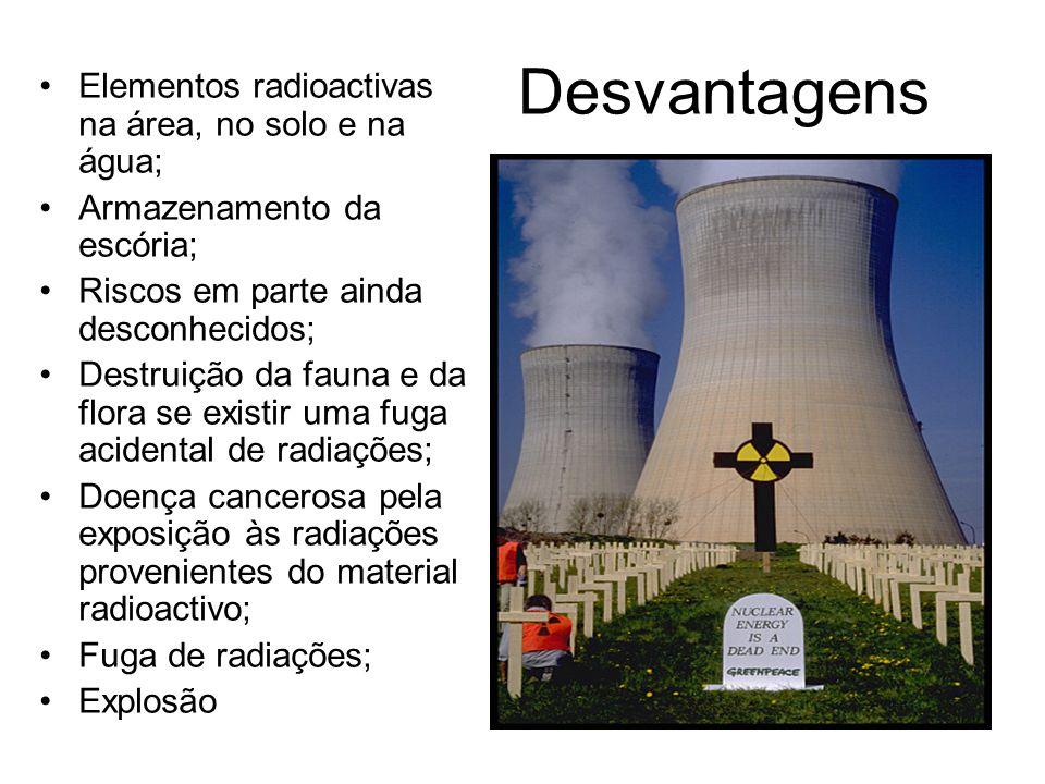 Desvantagens Elementos radioactivas na área, no solo e na água; Armazenamento da escória; Riscos em parte ainda desconhecidos; Destruição da fauna e d